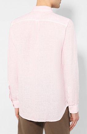 Мужская льняная рубашка 120% LINO светло-розового цвета, арт. R0M1425/0115/S00   Фото 4