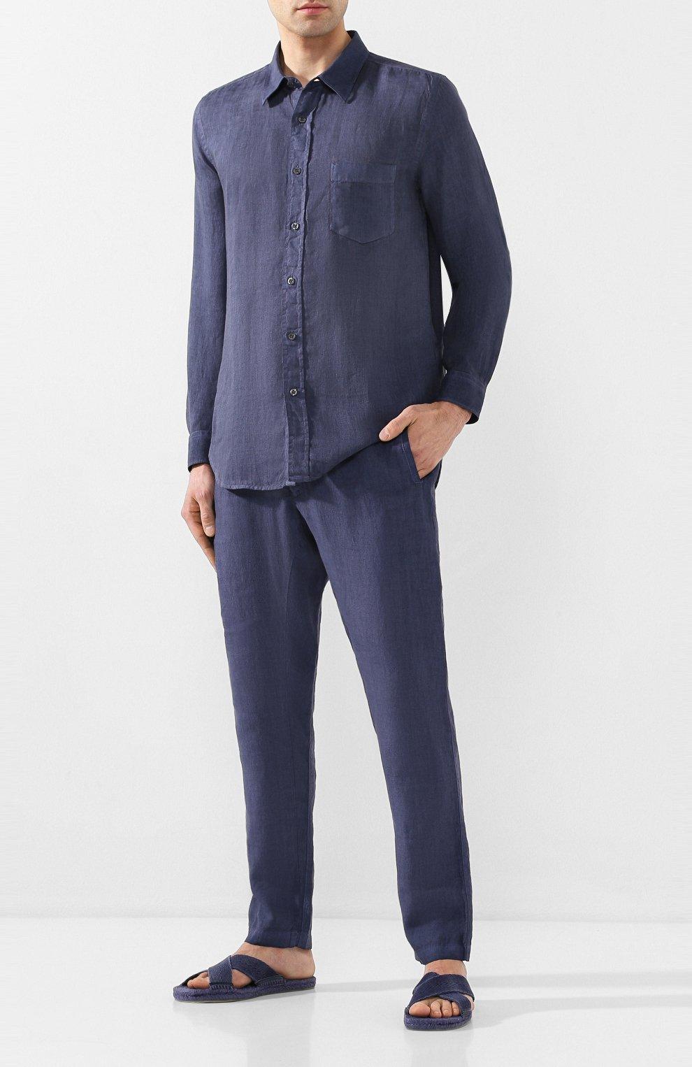Мужские льняные брюки 120% LINO темно-синего цвета, арт. R0M2131/0253/S00 | Фото 2
