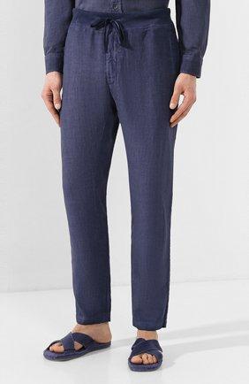 Мужские льняные брюки 120% LINO темно-синего цвета, арт. R0M2131/0253/S00 | Фото 3