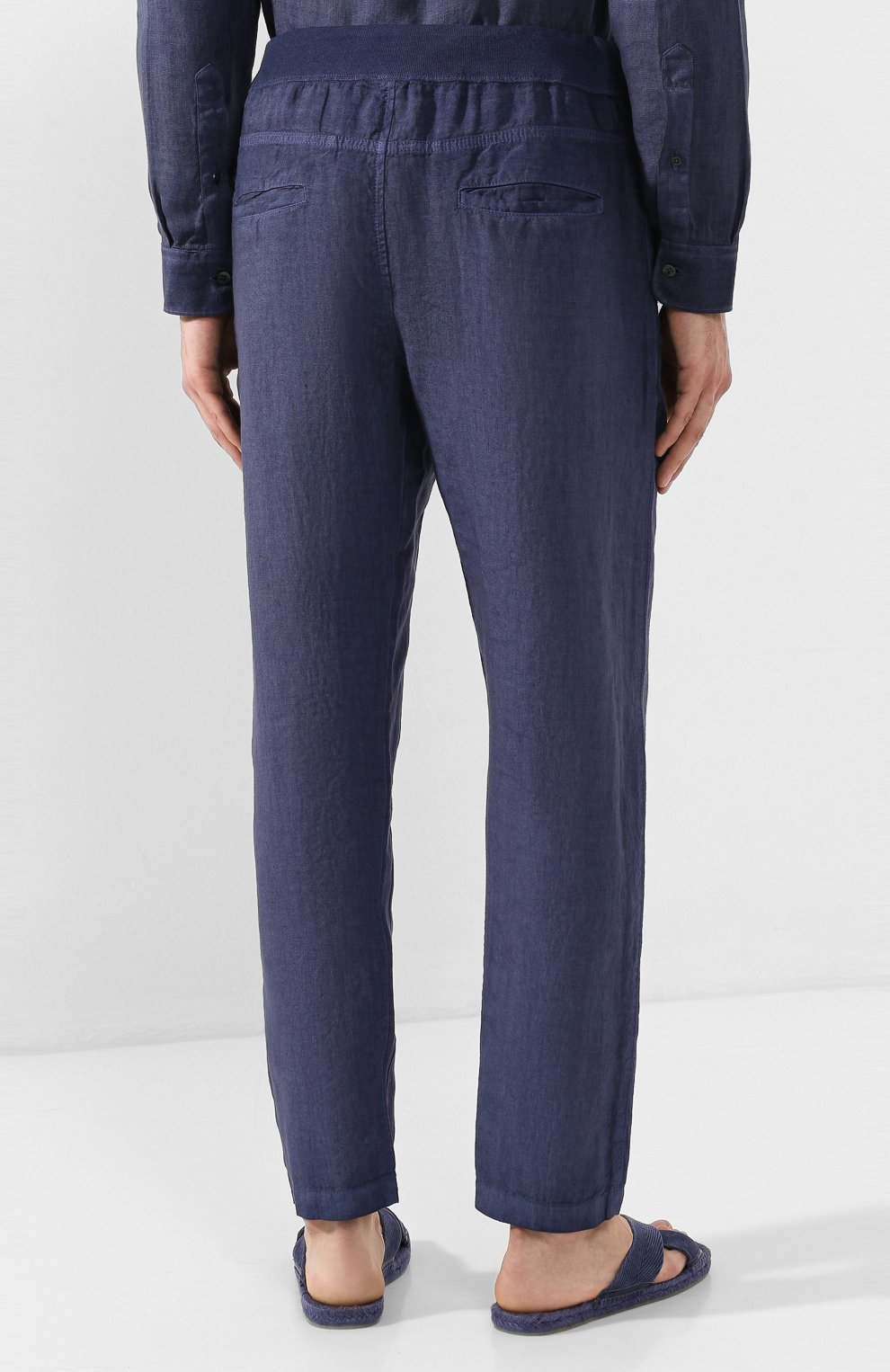 Мужские льняные брюки 120% LINO темно-синего цвета, арт. R0M2131/0253/S00 | Фото 4