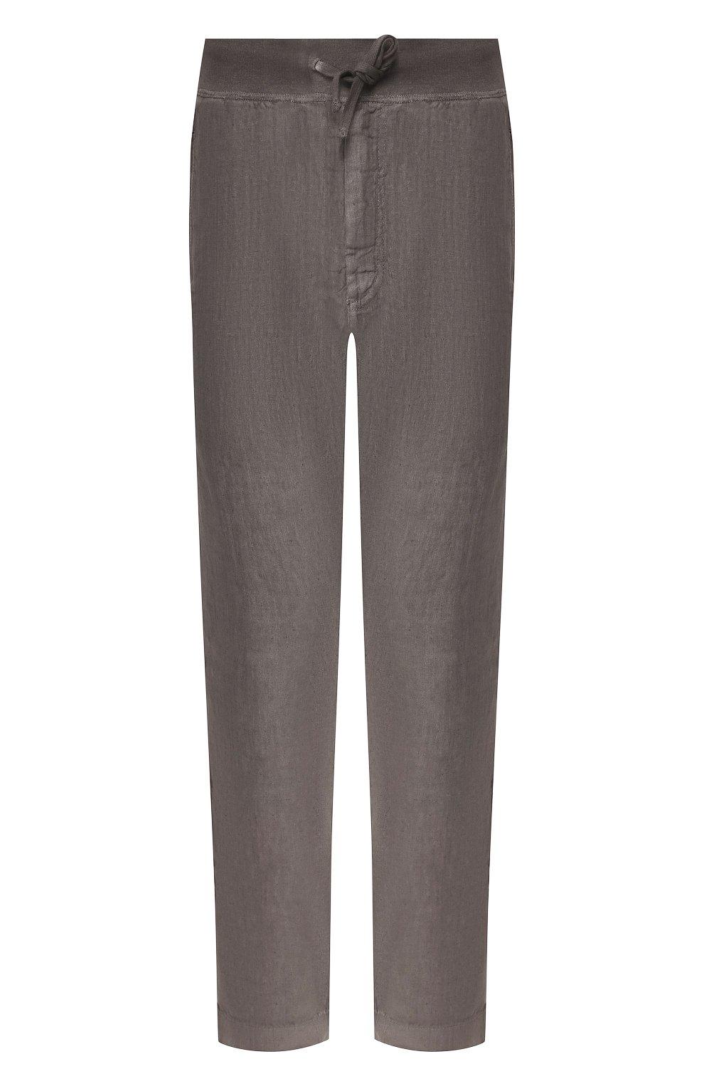 Мужские льняные брюки 120% LINO серого цвета, арт. R0M2131/0253/S00   Фото 1