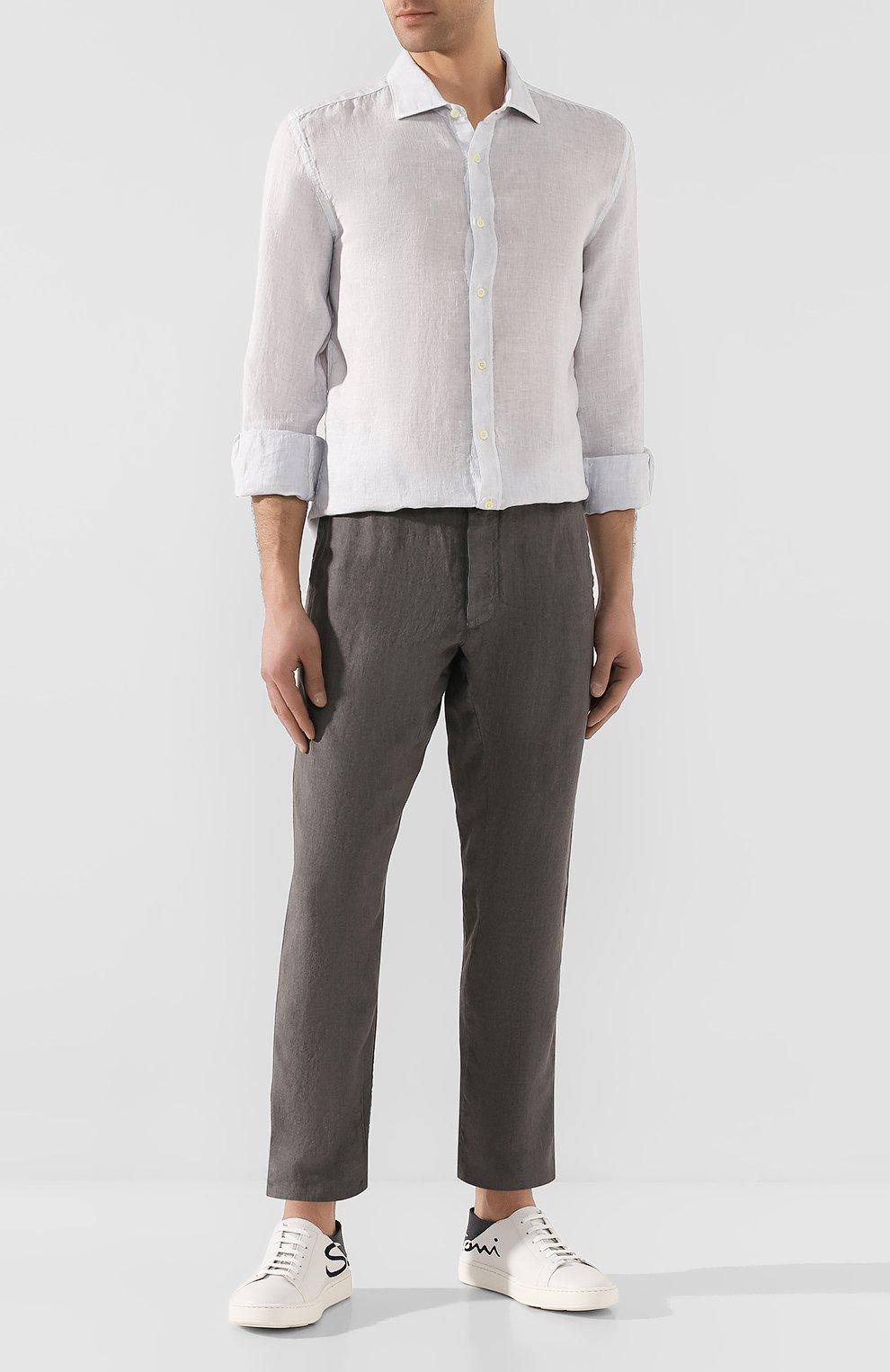 Мужские льняные брюки 120% LINO серого цвета, арт. R0M2131/0253/S00   Фото 2