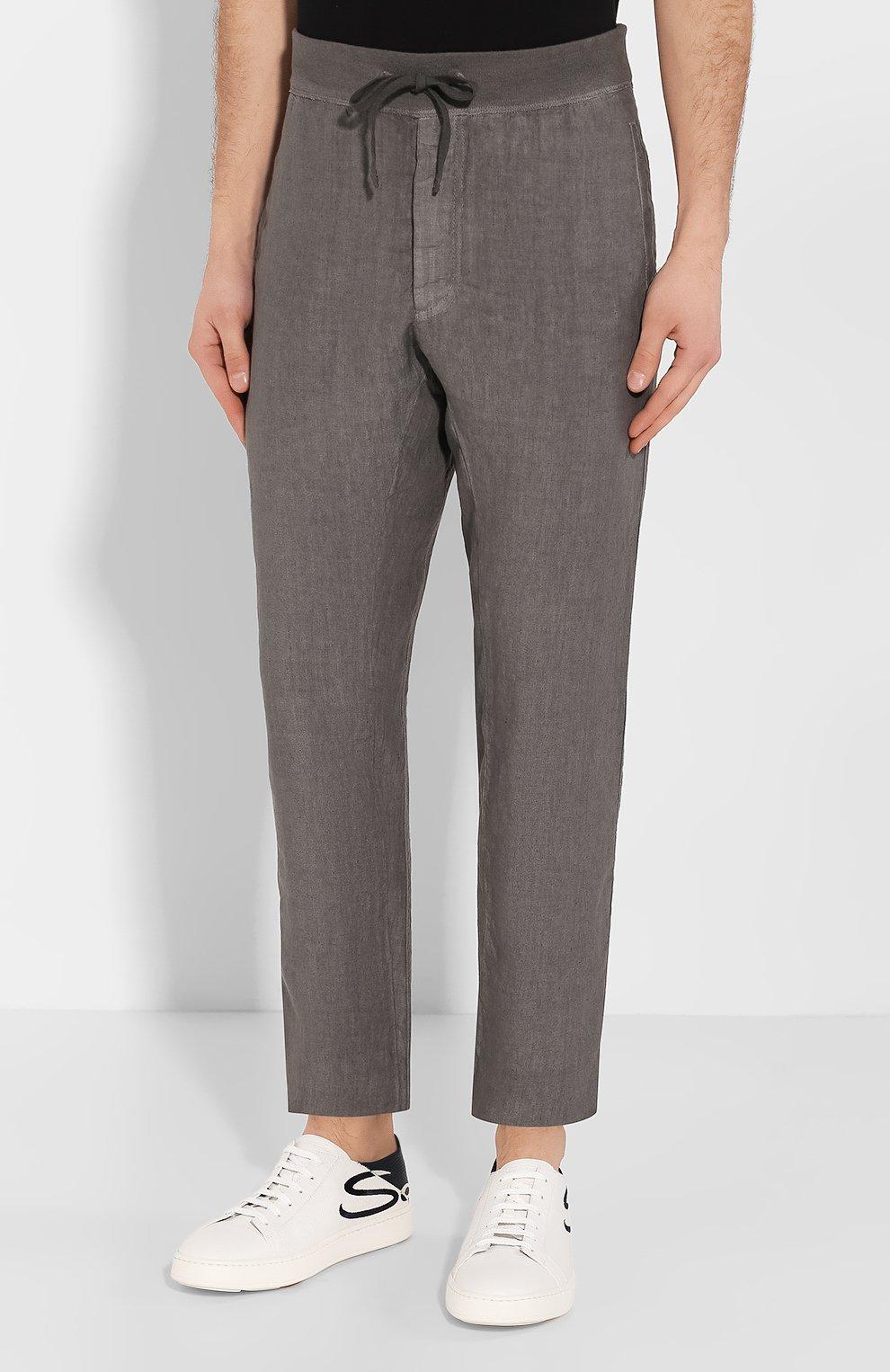 Мужские льняные брюки 120% LINO серого цвета, арт. R0M2131/0253/S00   Фото 3