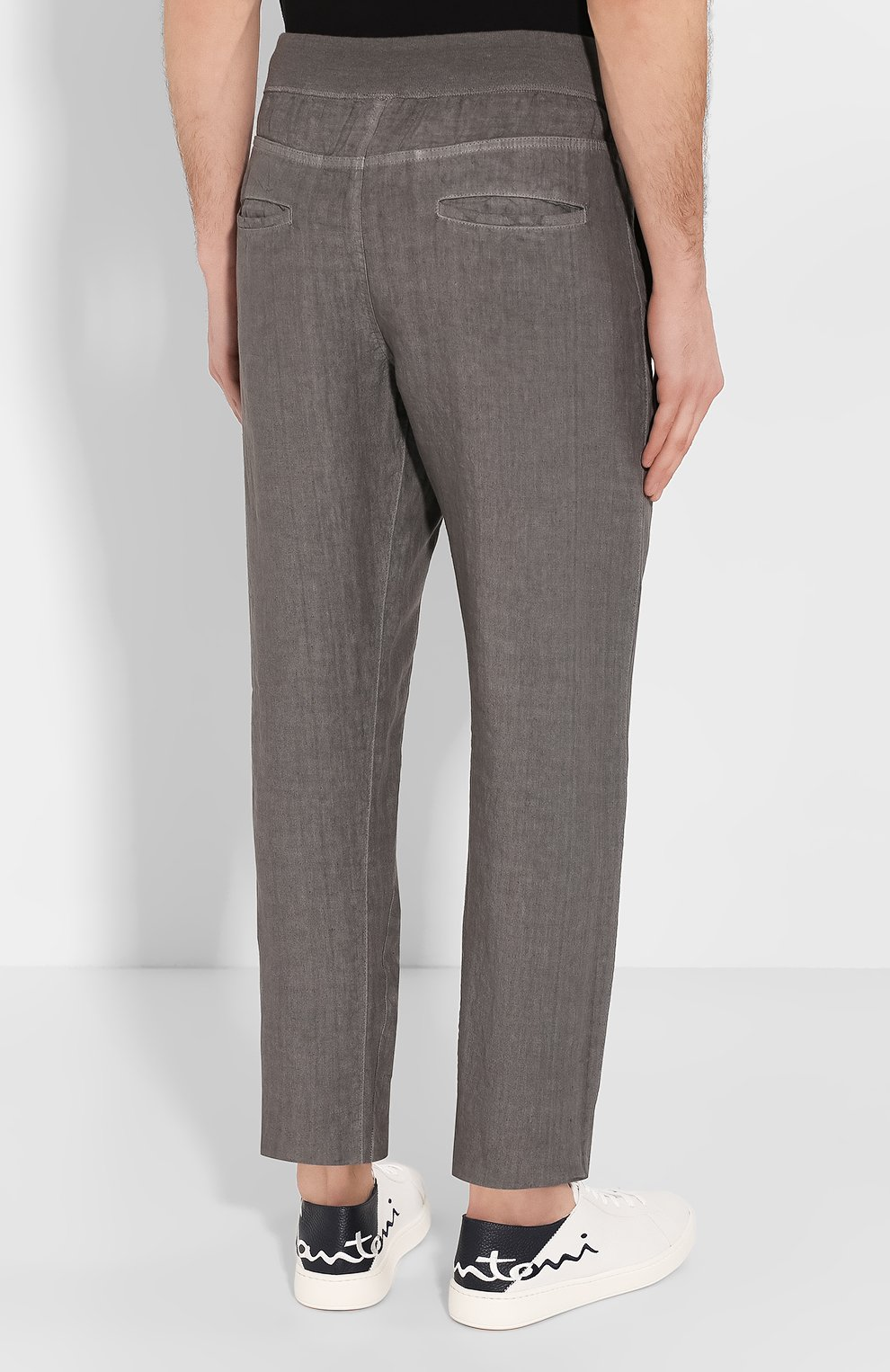 Мужские льняные брюки 120% LINO серого цвета, арт. R0M2131/0253/S00   Фото 4
