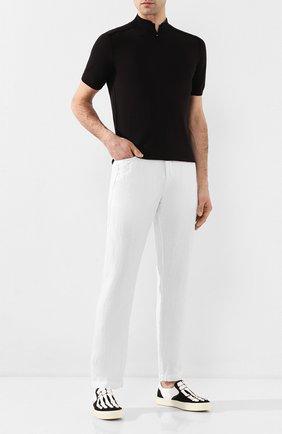 Мужской льняные брюки TRANSIT белого цвета, арт. CFUTRKD131   Фото 2