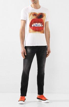 Мужская хлопковая футболка BISIBIGLIO белого цвета, арт. SHIT M0UTH   Фото 2