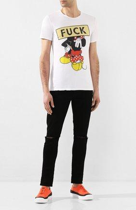 Мужская хлопковая футболка BISIBIGLIO белого цвета, арт. T0P0 FUCK BL0W   Фото 2