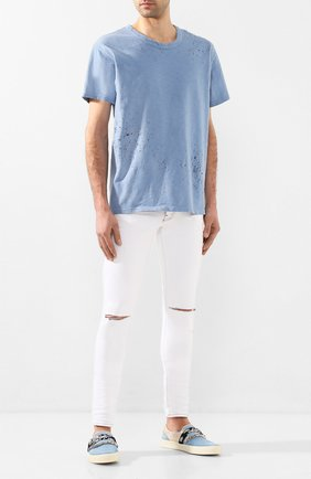 Мужская хлопковая футболка AMIRI голубого цвета, арт. Y0M03349CJ | Фото 2