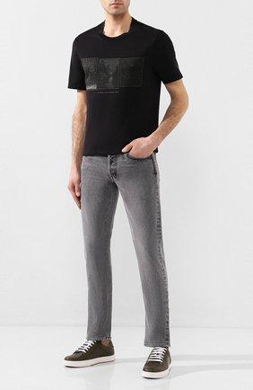 Мужская хлопковая футболка BRIONI черного цвета, арт. UJCH0L/P9601   Фото 2