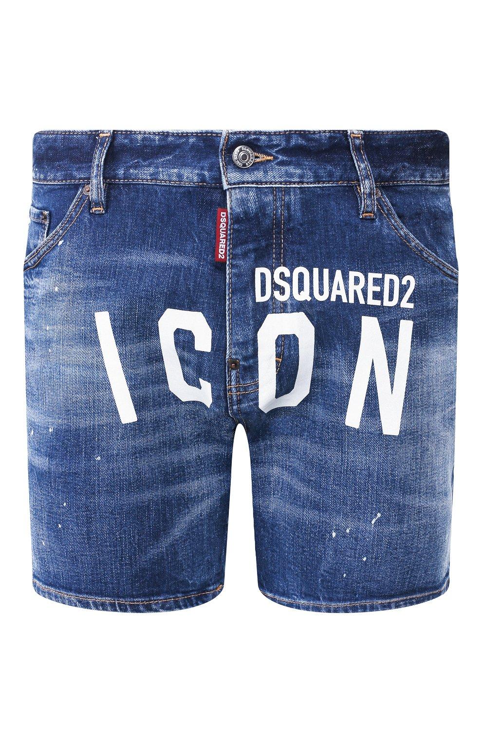 Мужские джинсовые шорты DSQUARED2 синего цвета, арт. S79MU0001/S30663 | Фото 1 (Длина Шорты М: До колена; Материал внешний: Хлопок, Деним)