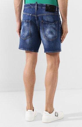 Мужские джинсовые шорты DSQUARED2 синего цвета, арт. S79MU0001/S30663 | Фото 4 (Длина Шорты М: До колена; Материал внешний: Хлопок, Деним)