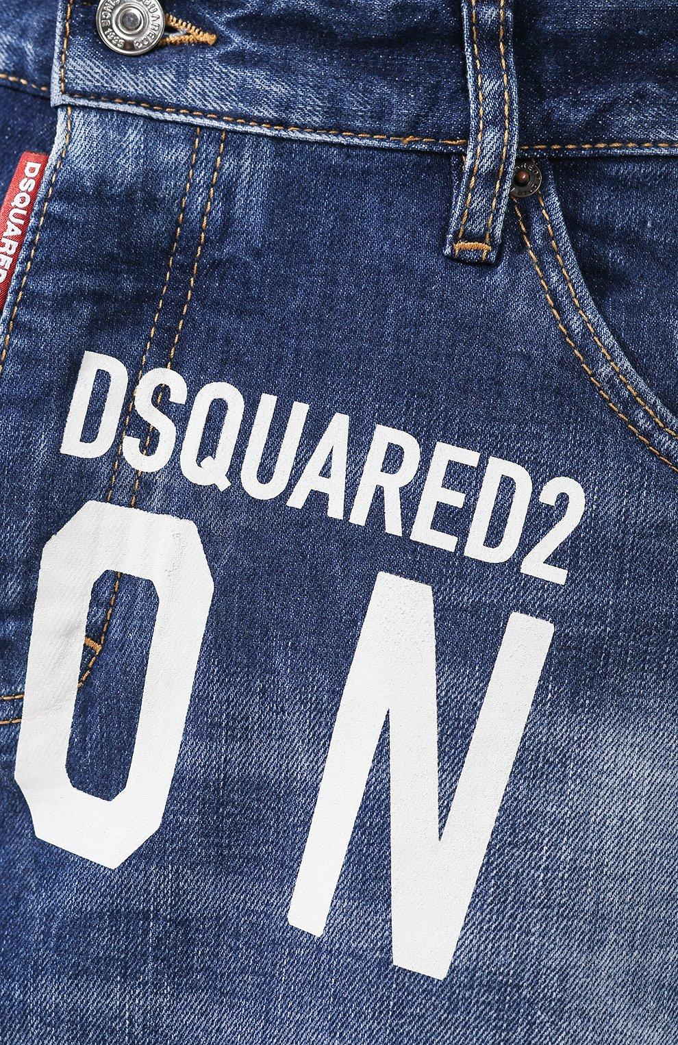 Мужские джинсовые шорты DSQUARED2 синего цвета, арт. S79MU0001/S30663 | Фото 5 (Длина Шорты М: До колена; Материал внешний: Хлопок, Деним)