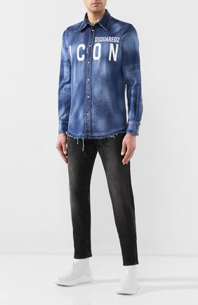 Мужская джинсовая рубашка DSQUARED2 синего цвета, арт. S79DL0001/S30341 | Фото 2