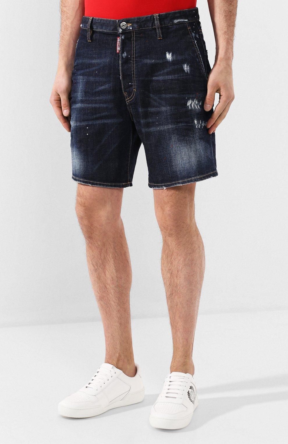 Мужские джинсовые шорты DSQUARED2 темно-синего цвета, арт. S74MU0576/S30664   Фото 3