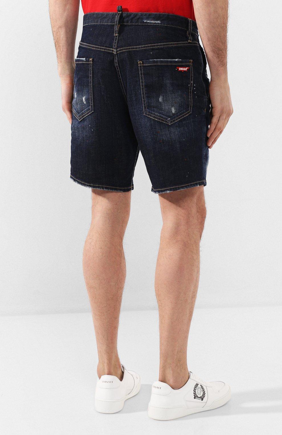 Мужские джинсовые шорты DSQUARED2 темно-синего цвета, арт. S74MU0576/S30664   Фото 4