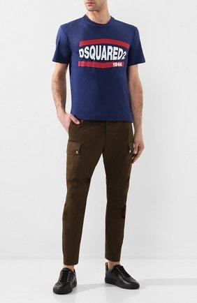 Мужские хлопковые брюки-карго DSQUARED2 хаки цвета, арт. S74KB0385/S41794 | Фото 2 (Материал внешний: Хлопок; Силуэт М (брюки): Карго; Случай: Повседневный; Стили: Кэжуэл)