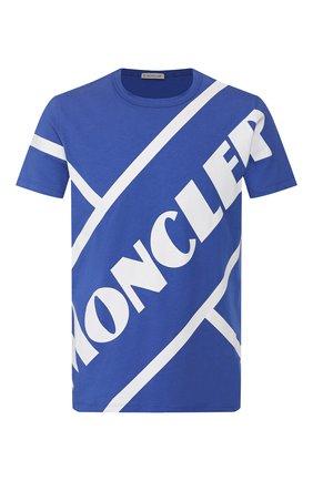 Мужская хлопковая футболка MONCLER синего цвета, арт. F1-091-8C706-10-8390T | Фото 1