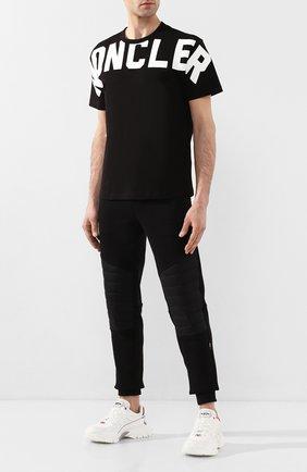 Мужская хлопковая футболка MONCLER черно-белого цвета, арт. F1-091-8C704-10-8390T | Фото 2