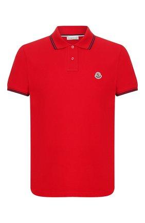 Мужское хлопковое поло MONCLER красного цвета, арт. F1-091-8A706-00-84556 | Фото 1