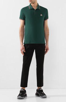 Мужское хлопковое поло MONCLER зеленого цвета, арт. F1-091-8A703-00-84556   Фото 2