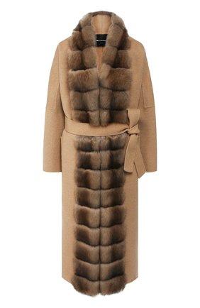 Женское пальто с меховой отделкой KITON бежевого цвета, арт. D48640DX04R72   Фото 1