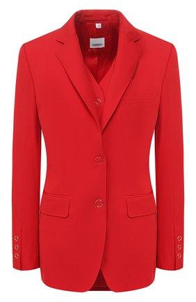 Женский шерстяной жакет BURBERRY красного цвета, арт. 8024776 | Фото 1