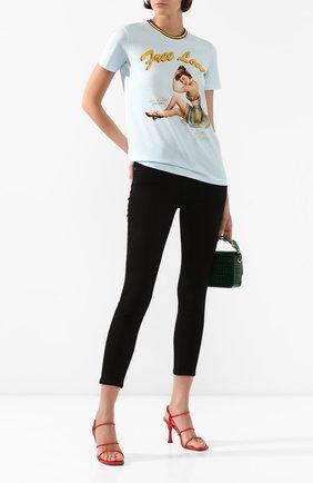 Женская хлопковая футболка DOLCE & GABBANA голубого цвета, арт. F8L61T/FI7TA | Фото 2