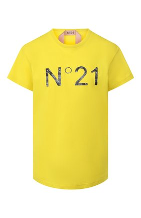 Женская хлопковая футболка N21 желтого цвета, арт. 20E N2M0/F011/4157 | Фото 1