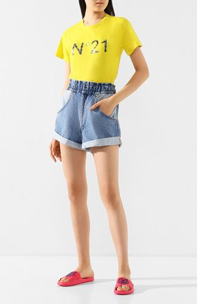 Женская хлопковая футболка N21 желтого цвета, арт. 20E N2M0/F011/4157 | Фото 2