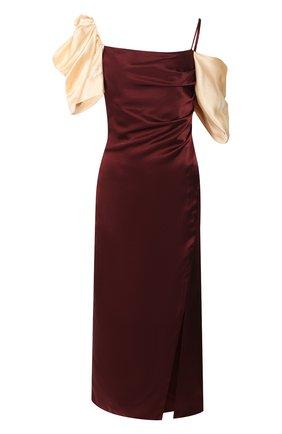 Женское шелковое платье REJINA PYO бордового цвета, арт. F270/HAMMERED SILK   Фото 1