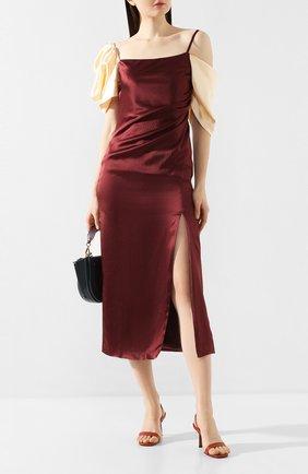 Женское шелковое платье REJINA PYO бордового цвета, арт. F270/HAMMERED SILK   Фото 2
