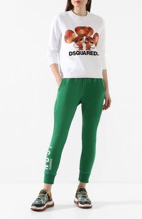 Женские хлопковые джоггеры DSQUARED2 зеленого цвета, арт. S80KA0001/S25042 | Фото 2