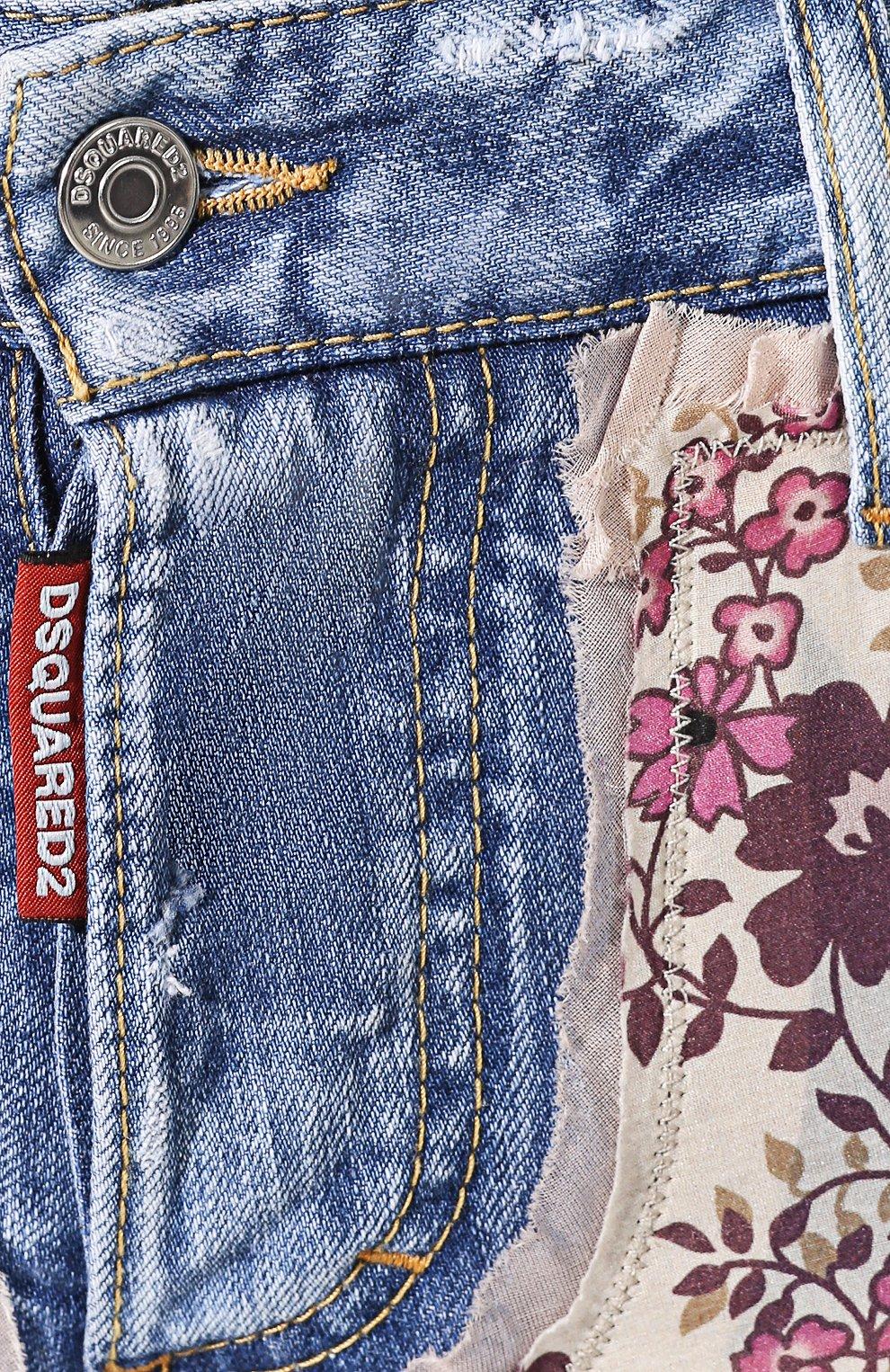 Женские джинсовые шорты DSQUARED2 голубого цвета, арт. S75MU0318/STN941 | Фото 5