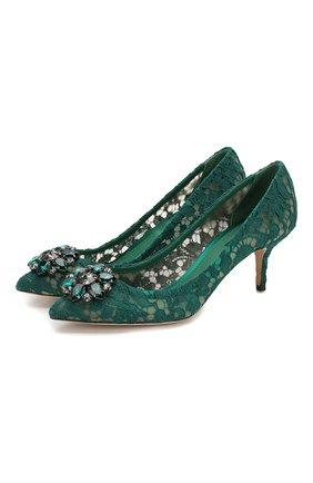 Женские текстильные туфли rainbow lace DOLCE & GABBANA зеленого цвета, арт. CD0066/AL198 | Фото 1