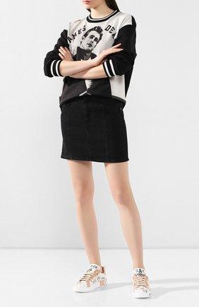 Женские кожаные кеды portofino DOLCE & GABBANA бежевого цвета, арт. CK1544/AX330 | Фото 2