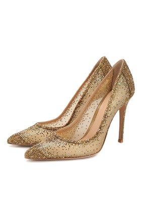 Женские туфли rania 105 GIANVITO ROSSI золотого цвета, арт. G20130.15RIC.CGAMEKM   Фото 1 (Материал внешний: Текстиль; Материал внутренний: Текстиль, Натуральная кожа; Подошва: Плоская)