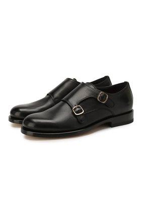 Женские кожаные монки SANTONI черного цвета, арт. WUKM58591BA3SLGAN01 | Фото 1