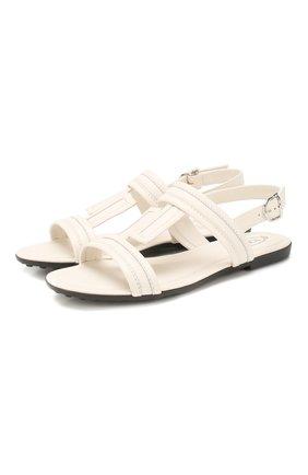 Женские кожаные сандалии TOD'S белого цвета, арт. XXW00V0CS00MID | Фото 1