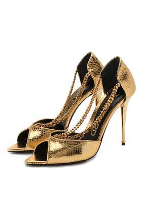 Женские кожаные босоножки TOM FORD золотого цвета, арт. W2562T-EAY001 | Фото 1 (Материал внутренний: Натуральная кожа; Подошва: Плоская; Каблук тип: Шпилька; Каблук высота: Высокий)