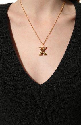 Женская подвеска на цепочке alphabet x CHLOÉ золотого цвета, арт. CHC20SF02XCB7 | Фото 2 (Материал: Металл)
