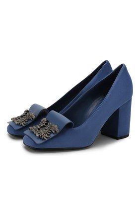 Женская замшевые туфли valentino garavani maison gryphons VALENTINO синего цвета, арт. TW2S0V26/ZCI | Фото 1