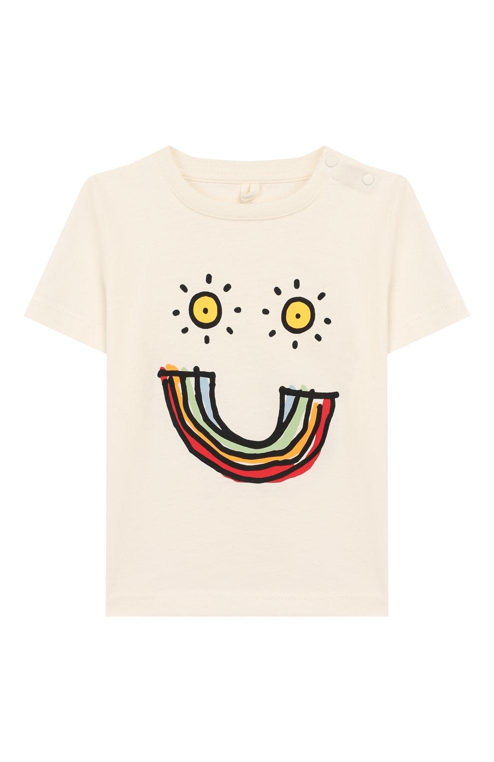 Детский хлопковая футболка STELLA MCCARTNEY белого цвета, арт. 588428/S0J96 | Фото 1