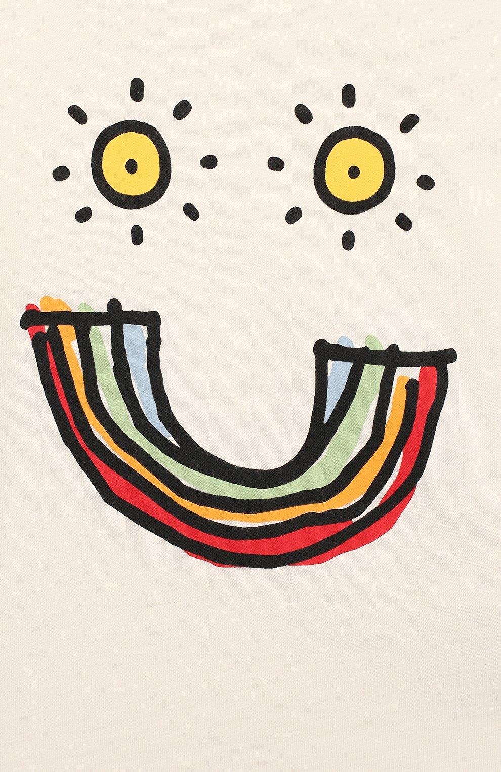 Детский хлопковая футболка STELLA MCCARTNEY белого цвета, арт. 588428/S0J96 | Фото 3
