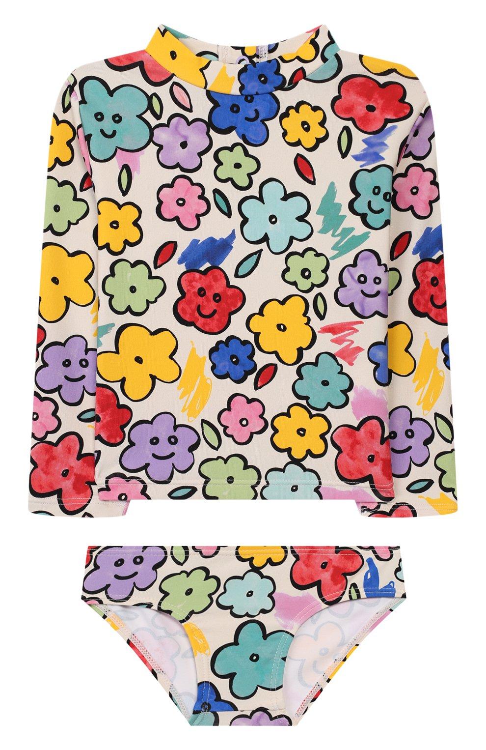 Детского пляжный комплект из лонгслива и плавок STELLA MCCARTNEY разноцветного цвета, арт. 588511/S0K08 | Фото 1