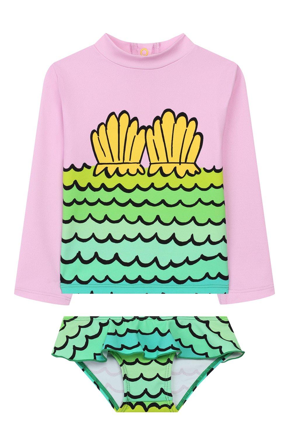 Детского пляжный комплект из лонгслива и плавок STELLA MCCARTNEY разноцветного цвета, арт. 588511/S0K11   Фото 1