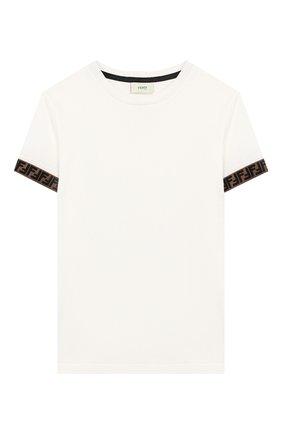 Детская хлопковая футболка FENDI белого цвета, арт. JMI323/7AJ/3A-6A | Фото 1