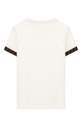 Детская хлопковая футболка FENDI белого цвета, арт. JMI323/7AJ/3A-6A | Фото 2