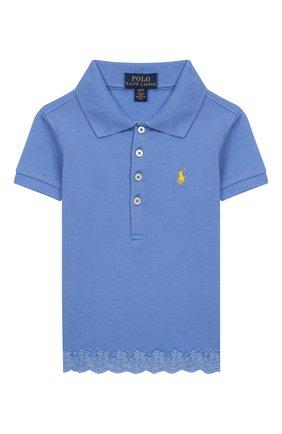 Детское хлопковое поло POLO RALPH LAUREN голубого цвета, арт. 311783917 | Фото 1