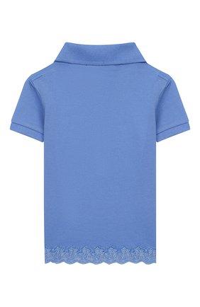 Детское хлопковое поло POLO RALPH LAUREN голубого цвета, арт. 311783917 | Фото 2