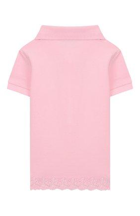 Детское хлопковое поло POLO RALPH LAUREN розового цвета, арт. 311783917 | Фото 2